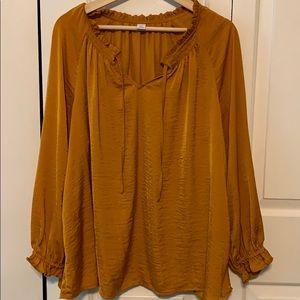Mustard flowy blouse
